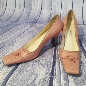Prada Pink Leather Oxford Square Toe Pumps, 37/7